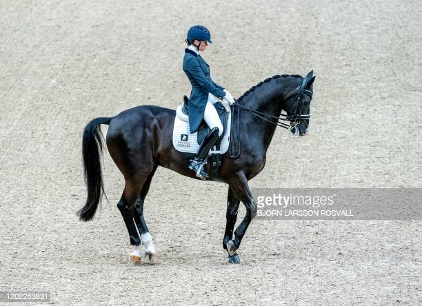 Charlotte Fry of Great Britain competing with the horse Dark Legend to place second in the FEI Dressage World Cup Grand Prix during Gothenburg Horse...