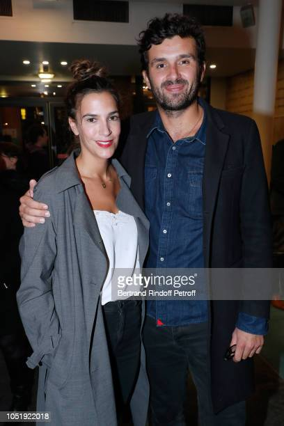 Charlotte Gabris and Antoine Benneteau attend Le Banquet Theater play at Theatre du RondPoint on October 11 2018 in Paris France