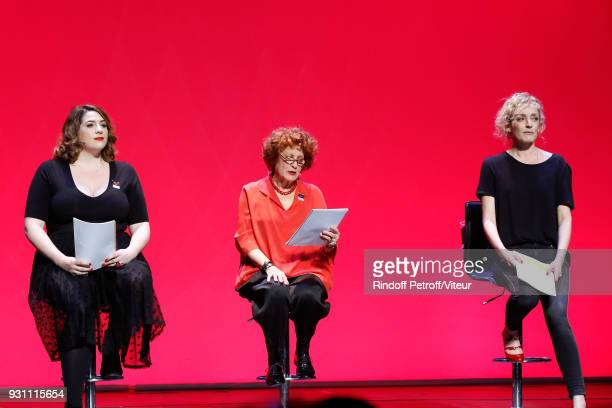 Charlotte Gaccio Andrea Ferreol and Juliette Arnaud perform in 'Les Monologues du Vagin The Vagina Monologues' during 'Paroles Citoyennes 10 shows to...