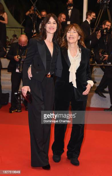 """Charlotte Gainsbourg and Jane Birkin attend the screening of """"Jane Par Charlotte """" during the 74th annual Cannes Film Festival on July 07, 2021 in..."""