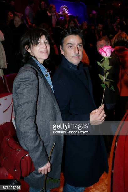 Charlotte Gainsbourg and Yvan Attal attend Barbara makes Gerard Depardieu triumph in 'Depardieu Chante Barbara' at 'Le Cirque D'Hiver' on November 19...