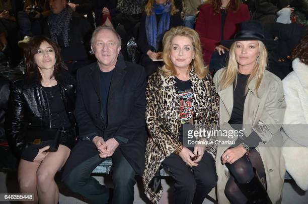 Charlotte Gainsbourg Francois Henri Pinault Catherine Deneuve and Kate Moss attend the Saint Laurent show as part of the Paris Fashion Week...