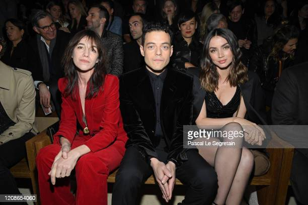 Charlotte Gainsbourg Rami Malek and Ana de Armas attend the Saint Laurent show as part of the Paris Fashion Week Womenswear Fall/Winter 2020/2021 on...