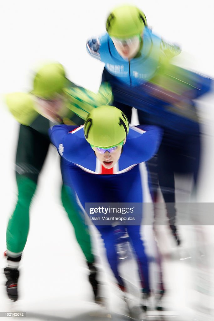 Charlotte Gilmartin of Great Britain competes in the Ladies 1000m B final during day 3 of the ISU European Short Track Speed Skating Championships at The Sportboulevard on January 25, 2015 in Dordrecht, Netherlands.