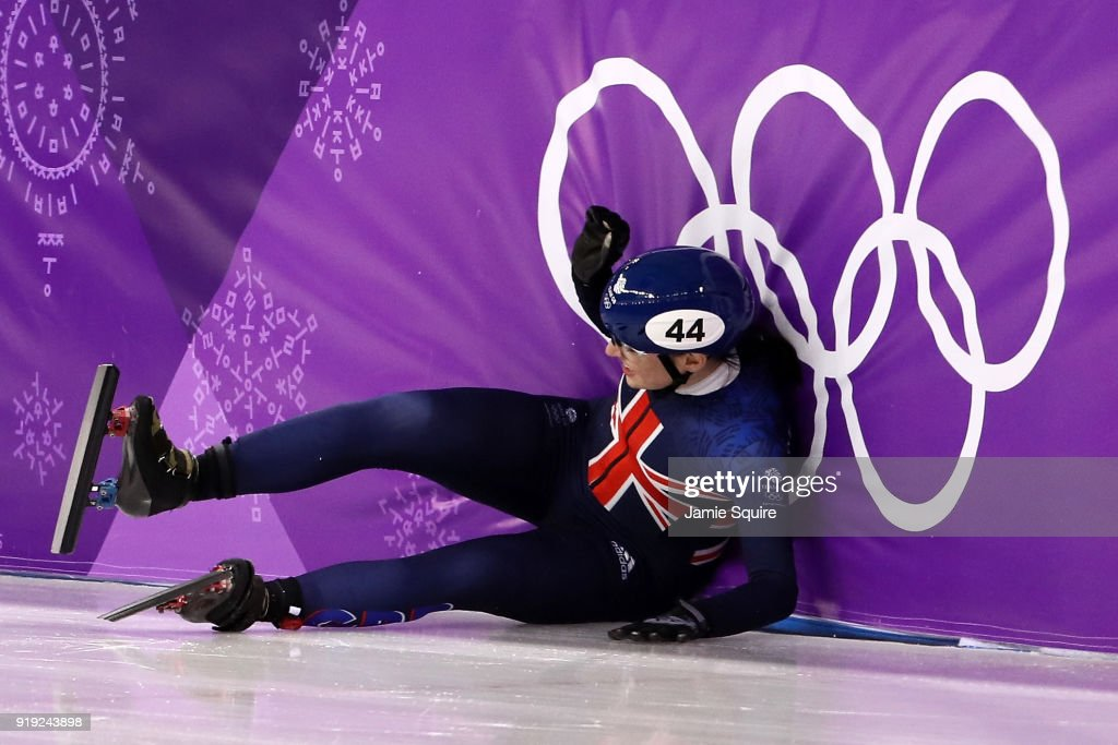Charlotte Gilmartin of Great Britain falls during the Short Track Speed Skating Ladies' 1500m Semifinals on day eight of the PyeongChang 2018 Winter Olympic Games at Gangneung Ice Arena on February 17, 2018 in Gangneung, South Korea.