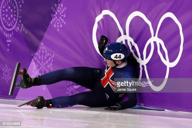 Charlotte Gilmartin of Great Britain falls during the Short Track Speed Skating Ladies' 1500m Semifinals on day eight of the PyeongChang 2018 Winter...