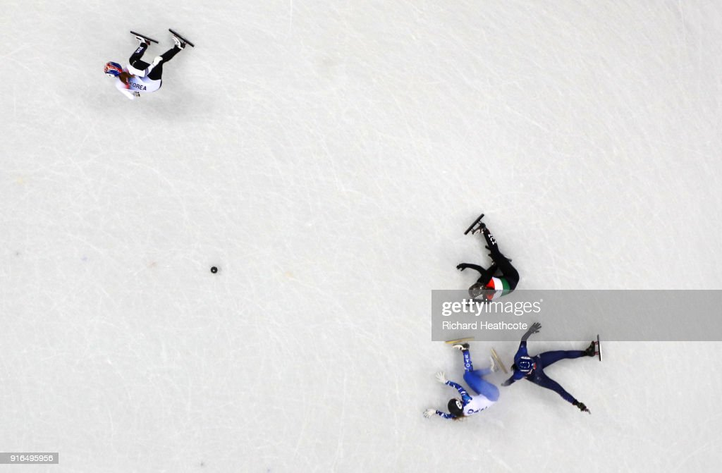 Charlotte Gilmartin of Great Britain, Olympic Ahtlete from Russia Emina Malagich and Petra Jaszapati of Hungary collide as Min Jeong Choi of Korea races away during the Ladies' 500m Short Track Speed Skating qualifying on day one of the PyeongChang 2018 Winter Olympic Games at Gangneung Ice Arena on February 10, 2018 in Gangneung, South Korea.
