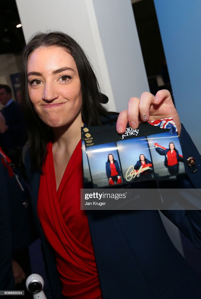 Charlotte Gilmartin poses with her picture during the Team GB Kitting Out Ahead Of Pyeongchang 2018 Winter Olympic Games on January 22, 2018 in Stockport, England.