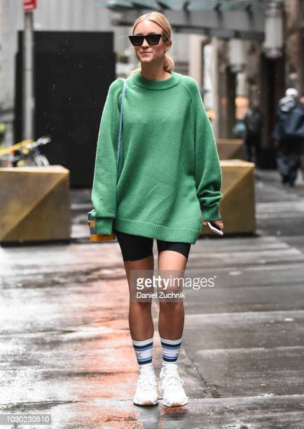 Charlotte Groenevald is seen wearing a green Tibi sweater outside the Tibi show during New York Fashion Week Women's S/S 2019 on September 9 2018 in...