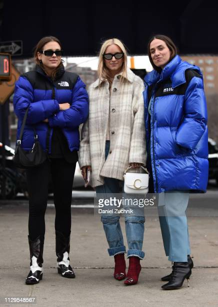 Charlotte Groeneveld and Erika Boldrin are seen outside the Boss show during New York Fashion Week: Fall/Winter 2019 on February 13, 2019 in New York...
