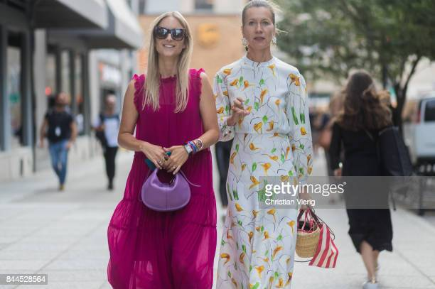 Charlotte Groeneveld and Natalie Joos wearing a straw bag seen in the streets of Manhattan outside Cushnie Et Ochs during New York Fashion Week on...