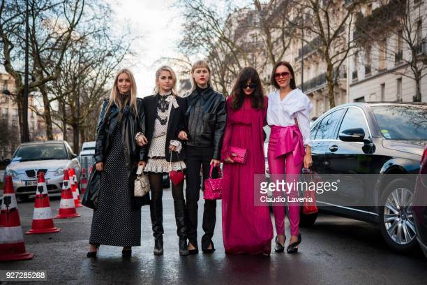 Charlotte Groeneveld Caroline Daur Linda Tol Eleonora Carisi and Evangelie Smyrniotaki are seen in the streets of Paris after the Valentino show...