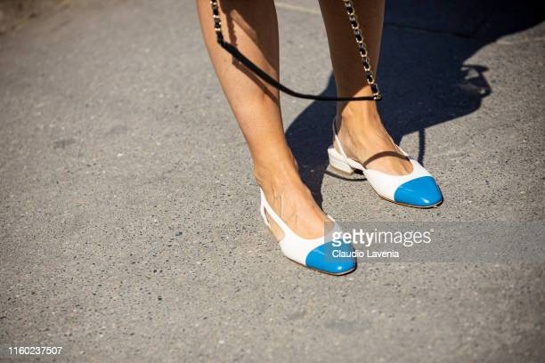 Charlotte Groeneveld Chanel shoes details is seen outside Chanel show during Paris Fashion Week Haute Couture Fall/Winter 2019/2020 on July 02 2019...
