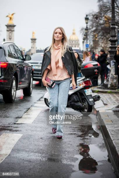Charlotte Groeneveld is seen in the streets of Paris after the Elie Saab show during Paris Fashion Week Womenswear Fall/Winter 2017/2018 on March 3...