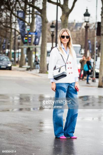 Charlotte Groeneveld is seen in the streets of Paris before the Chanel show during Paris Fashion Week Womenswear Fall/Winter 2017/2018 on March 7...