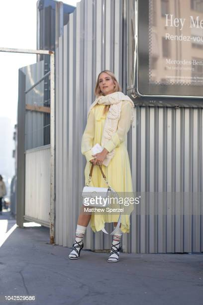 Charlotte Groeneveld is seen on the street during Paris Fashion Week SS19 wearing ChloŽ on September 27 2018 in Paris France