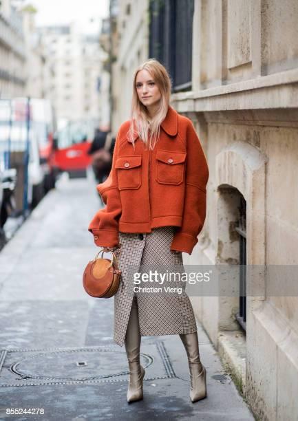 Charlotte Groeneveld is seen outside Chloe during Paris Fashion Week Spring/Summer 2018 on September 28 2017 in Paris France