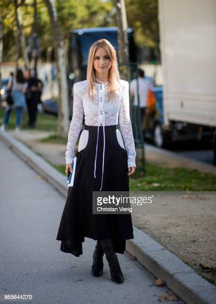 Charlotte Groeneveld is seen outside Nina Ricci during Paris Fashion Week Spring/Summer 2018 on September 29 2017 in Paris France