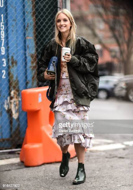 Charlotte Groeneveld is seen outside the Brock Collection show during New York Fashion Week Women's A/W 2018 on February 9 2018 in New York City