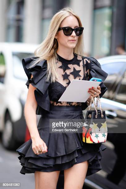 Charlotte Groeneveld is seen outside the Elie Saab show during Paris Fashion Week Haute Couture Fall/Winter 20172018 on July 5 2017 in Paris France