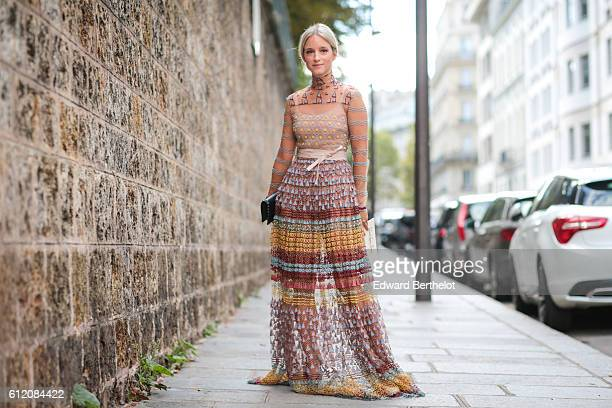 Charlotte Groeneveld is seen outside the Valentino show during Paris Fashion Week Spring Summer 2017 on October 2 2016 in Paris France