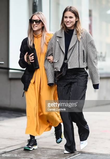 Charlotte Groeneveld is seen wearing a Tibi dress at the Tibi show during New York Fashion Week Women's Fall/Winter 2017 on February 11 2017 in New...