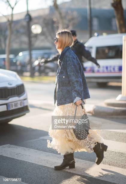 Charlotte Groeneveld is seen wearing Dior bag, skirt, jacket outside Dior during Paris Fashion Week - Haute Couture Spring Summer 2019 on January 21,...
