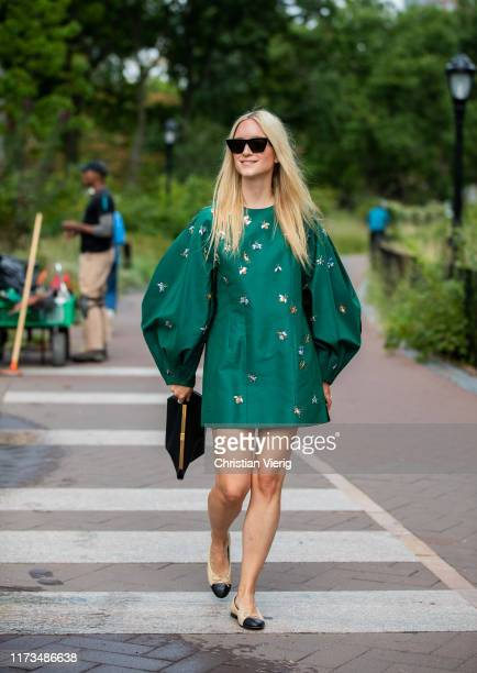Charlotte Groeneveld is seen wearing green dress outside Carolina Herrera during New York Fashion Week September 2019 on September 09 2019 in New...