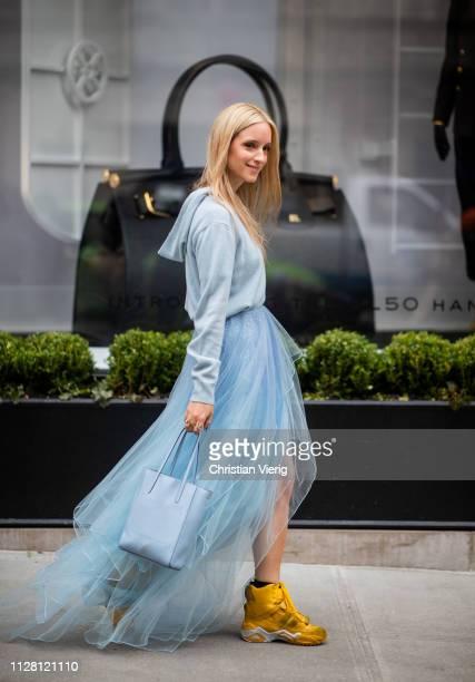 Charlotte Groeneveld is seen wearing sheer skirt hoody bag outside Ralph Lauren during New York Fashion Week Autumn Winter 2019 on February 07 2019...