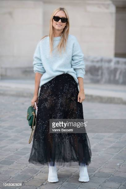 Charlotte Groeneveld poses after the Elie Saab show at the Grand Palais during Paris Fashion Week SS19 Womenswear on September 29 2018 in Paris France