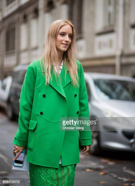 Charlotte Groeneveld wearing a green dress green blazer jacket seen outside Valentino during Paris Fashion Week Spring/Summer 2018 on October 1 2017...