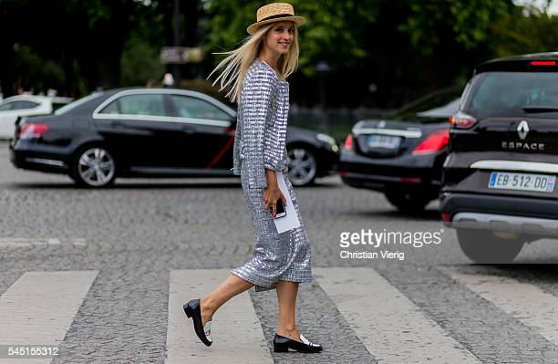 Charlotte Groeneveld wearing a silver Chanel skirt and jacket outside Chanel during Paris Fashion Week Haute Couture F/W 2016/2017 on July 5 2016 in...