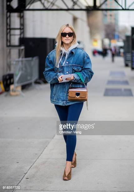 Charlotte Groeneveld wearing denim jacket seen outside Michael Kors on February 14 2018 in New York City