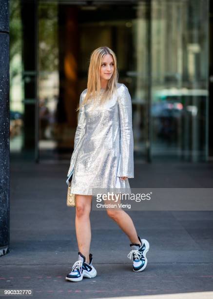 Charlotte Groeneveld wearing silver dress, Louis Vuitton sneakers, Dior bag seen outside Ralph & Russo on day two during Paris Fashion Week Haute...