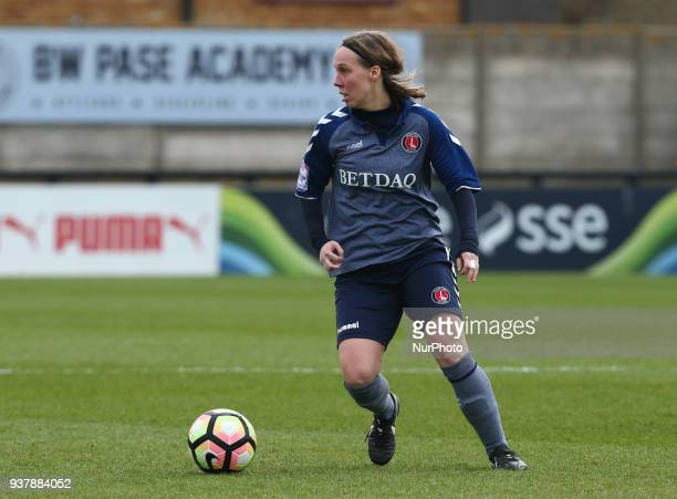 Charlotte Gurr of Charlton Athletic Women during SSE Women's FA Cup quarter_final match between Arsenal against Charlton Athletic Women at Meadow...