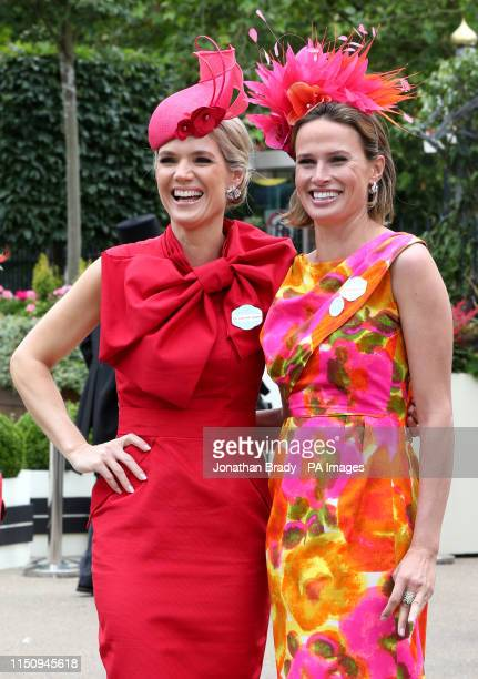 Charlotte Hawkins and Francesca Cumani during day three of Royal Ascot at Ascot Racecourse.