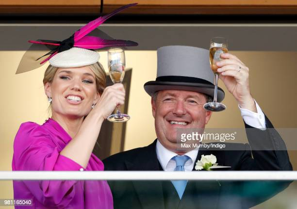 Charlotte Hawkins and Piers Morgan watch the racing on day 2 of Royal Ascot at Ascot Racecourse on June 20 2018 in Ascot England