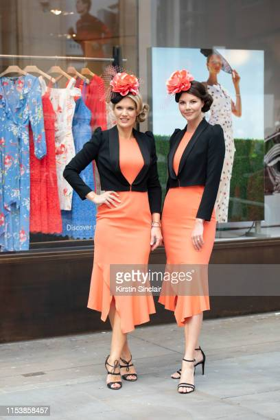 Charlotte Hawkins and Stephanie Waxberg at the launch of the Royal Ascot dress code assistants uniform on June 05 2019 in London England