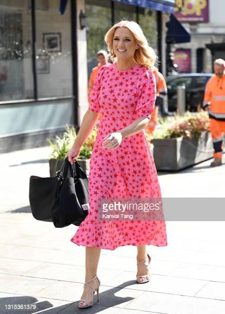 Charlotte Hawkins arrives at Global radio studios on April 30, 2021 in London, England.
