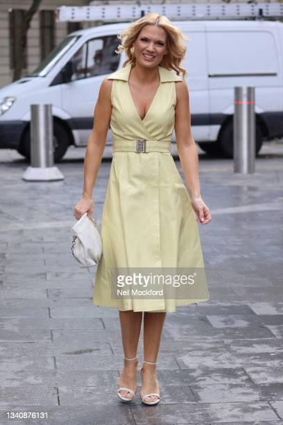 Charlotte Hawkins arriving at Classic Radio Studios on September 17, 2021 in London, England.