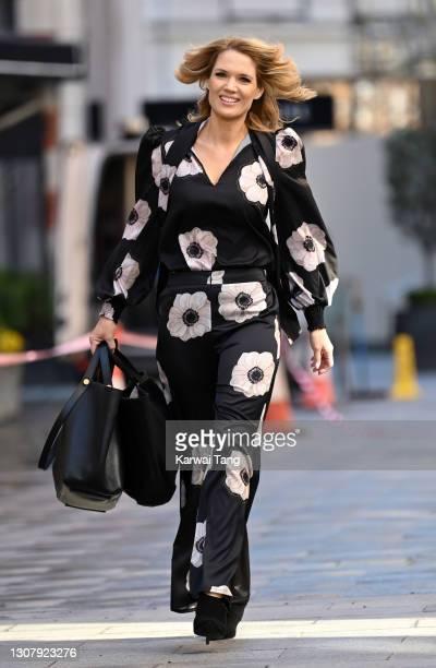 Charlotte Hawkins departs Global radio studios on March 19, 2021 in London, England.