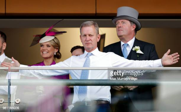 Charlotte Hawkins Jeremy Kyle and Piers Morgan watch the racing on day 2 of Royal Ascot at Ascot Racecourse on June 20 2018 in Ascot England