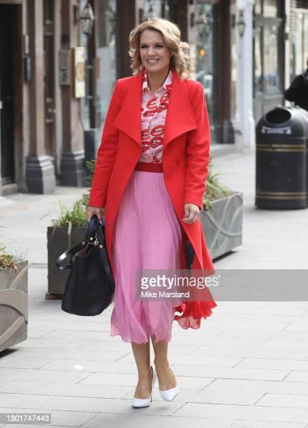 Charlotte Hawkins outside the Global Radio Studios on February 12, 2021 in London, England.