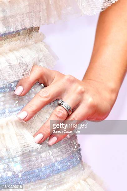 Charlotte Hawkins, ring detail, attends The TRIC Awards 2021 at 8 Northumberland Avenue on September 15, 2021 in London, England.