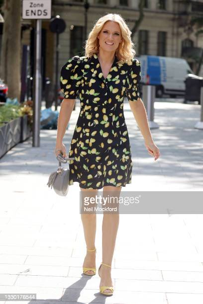 Charlotte Hawkins seen arriving at Smooth Radio Studios on July 23, 2021 in London, England.