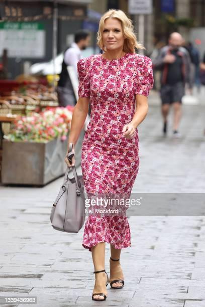 Charlotte Hawkins seen arriving for Smooth Radio Studios on September 10, 2021 in London, England.