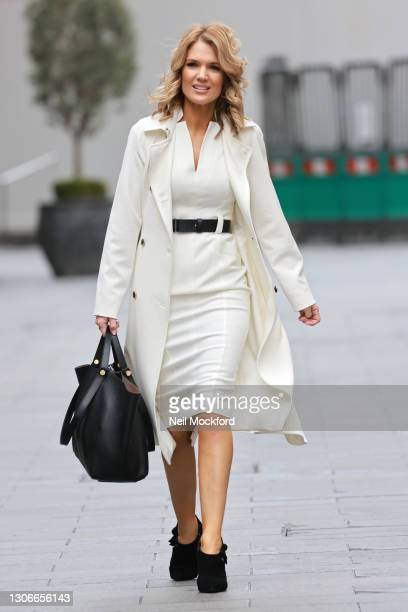 Charlotte Hawkins seen leaving Global Radio Studios on March 12, 2021 in London, England.