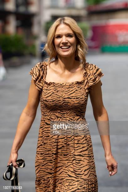 Charlotte Hawkins seen leaving the Global radio studios on July 09, 2021 in London, England.