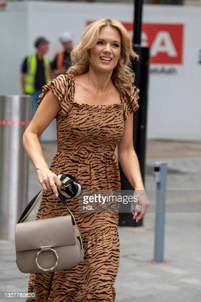 Charlotte Hawkins seen outside the Global Radio studios on July 09, 2021 in London, England.