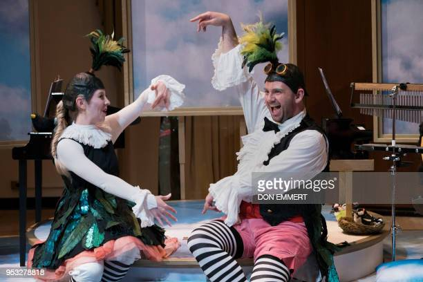 Charlotte Hoather playing Uccellina and Timothy Connor playing Pulcino perform during the presentation of BambinO on April 30 2018 at the...